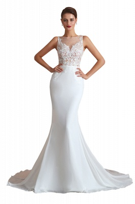 Sweep Train Crew Form-fitting Lace Wedding Dresses |Sleeveless Sheath Bridal Gown_1