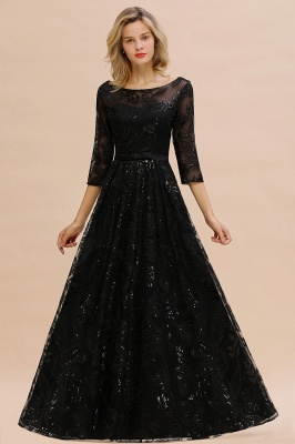 A-line Round Neckline Sexy Lace Prom Dresses | Black Evening Dresses_5