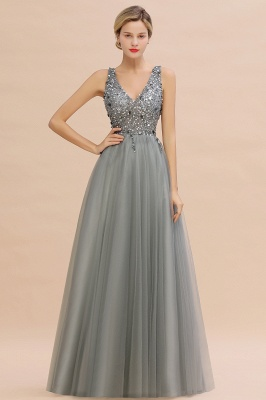 Sleeveless A-line Sequin Tulle Prom Dresses | Cheap Evening Dress
