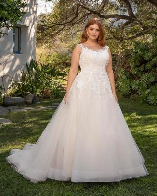 Straps Floor Length A-line Lace Tulle Wedding Dresses | Plus Size Bridal Gown_3