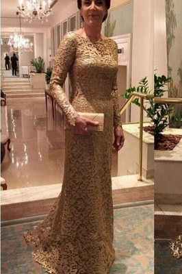 Elegant Crew Sheath Long Sleeve Sweep Train Lace Mother of the Bride Dresses_2