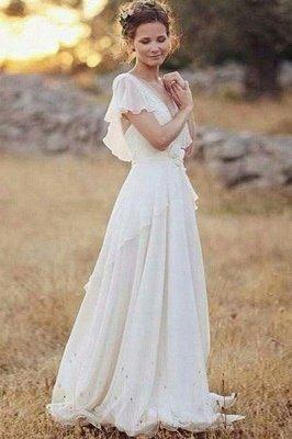 Charming Ruched Floor-Length V-neck Short Sleeves Chiffon Wedding Dresses_2