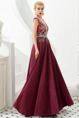 Straps Deep V-neck Beaded Sexy Long Prom Dresses | Elegant Floor Length Evening Dresses_7