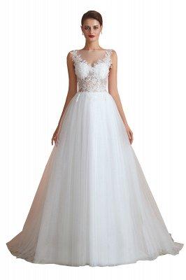 Sheer Top Bateau Sleeveless Floor Length A-line Tulle Wedding Dresses_2