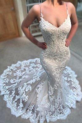 Glamorous Spaghettis-Straps Lace Wedding Dresses | Lace Appliques Mermaid Bridal Gowns_2