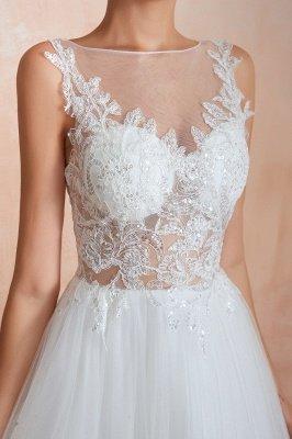 Sheer Top Bateau Sleeveless Floor Length A-line Tulle Wedding Dresses_9