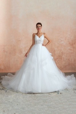 Spaghetti Straps V-neck Lace Organza Tiered A-line Sexy Wedding Dresses_4