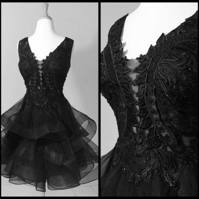 Modest Straps Ruffles Lace Sleeveless Short Homecoming Dress_4
