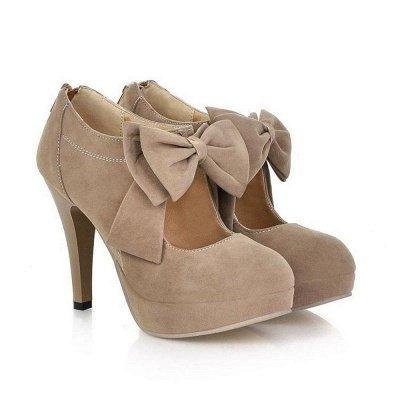 Round Toe Bowtie Hollow Stiletto Heel Women's Boots On Sale_2