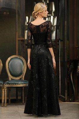 A-line Round Neckline Sexy Lace Prom Dresses | Black Evening Dresses_12