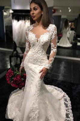 Mermaid Sheer-Back Long-Sleeves Charming Mermaid Tulle Appliques Bridal Dresses_2