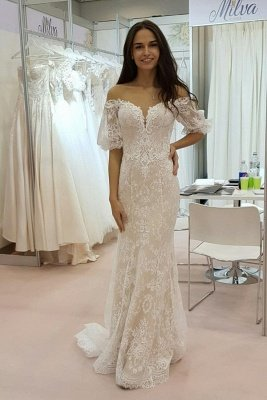 Stunning Strapless Tulle Lace Sweetheart Wedding Dress_1