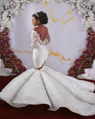 Glamorous Off-the-shoulder Ruffles Applique Beaded Mermaid Wedding Dresses with Long Sleeves_4