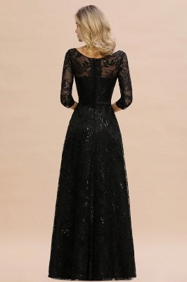 A-line Round Neckline Sexy Lace Prom Dresses | Black Evening Dresses_4