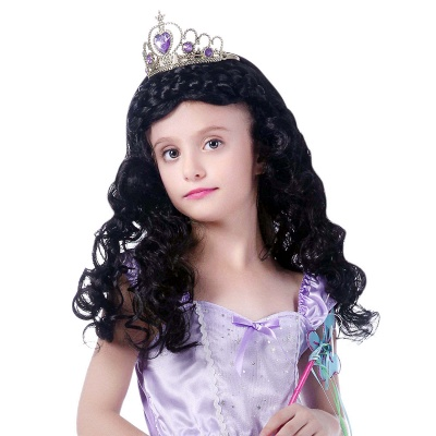 Black Long Wavy Curly Cosplay Wigs for Girl_1
