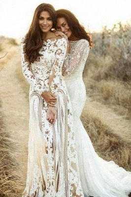 Column Bateau Long Sleeves Open Back Lace Wedding Dress