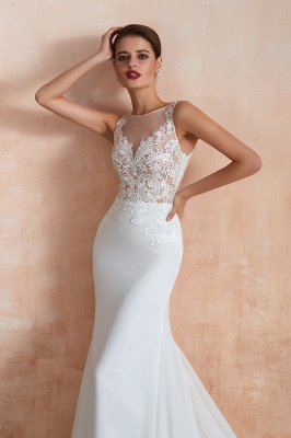 Sweep Train Crew Form-fitting Lace Wedding Dresses |Sleeveless Sheath Bridal Gown_7