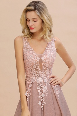 Elegant Sleeveless V-neck Floor Length Appliques Prom Dresses | Cheap Backless Evening Dresses_17