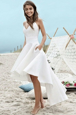 Sleeveless Asymmetrical Satin Spaghetti Straps Ruched Wedding Dresses_2