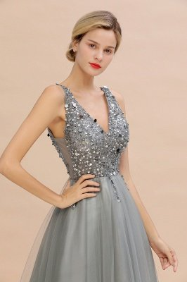 Sleeveless A-line Sequin Tulle Prom Dresses | Cheap Evening Dress_18