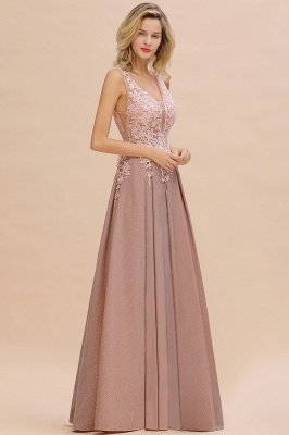 Elegant Sleeveless V-neck Floor Length Appliques Prom Dresses | Cheap Backless Evening Dresses_18