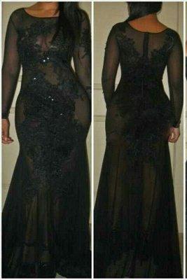 Long-Sleeves See-Through Black Mermaid Sexy Evening Dresses_2