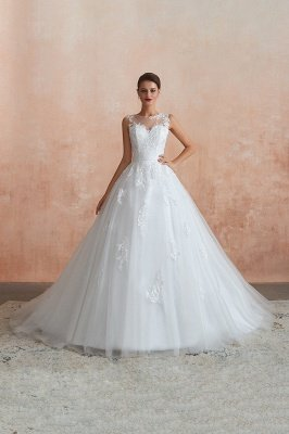 Floor Length Bateau Sleeveless Buttons Lace Tulle Puffy Wedding Dresses_7