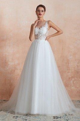 Sheer Top Bateau Sleeveless Floor Length A-line Tulle Wedding Dresses_3