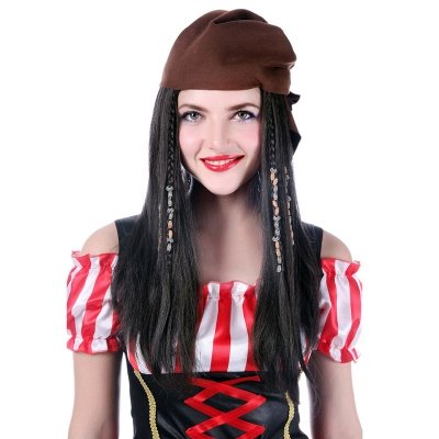 Black Long Straight Bandana Cosplay Synthetic Wigs for Women