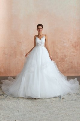 Spaghetti Straps V-neck Lace Organza Tiered A-line Sexy Wedding Dresses_5