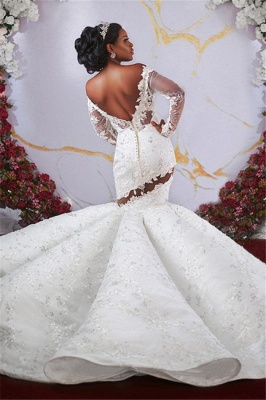 Glamorous Off-the-shoulder Ruffles Applique Beaded Mermaid Wedding Dresses with Long Sleeves_2
