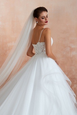 Spaghetti Straps V-neck Lace Organza Tiered A-line Sexy Wedding Dresses_8