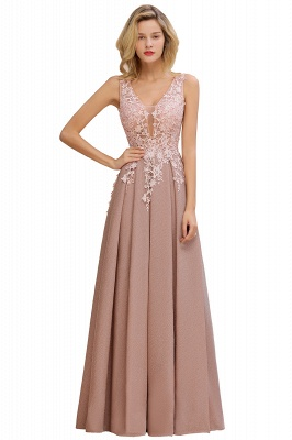 Elegant Sleeveless V-neck Floor Length Appliques Prom Dresses | Cheap Backless Evening Dresses_8