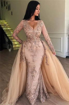 Elegant V-Neck Long Sleeves  Prom Dress |  Mermaid Applqiues Evening Dress with Detachable Skirt_2