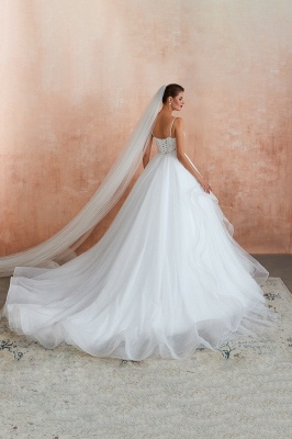 Spaghetti Straps V-neck Lace Organza Tiered A-line Sexy Wedding Dresses_12