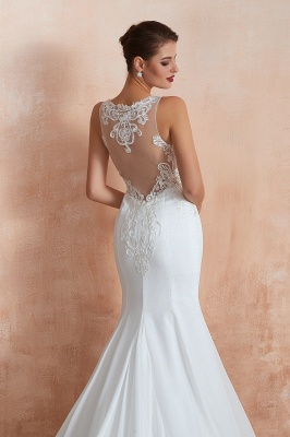 Sweep Train Crew Form-fitting Lace Wedding Dresses |Sleeveless Sheath Bridal Gown_9