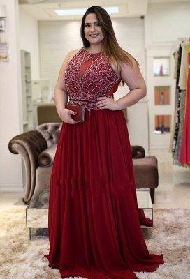 Plus-Size Rhinestones Burgundy  Vintage Jewel A-Line Prom Dresses_2