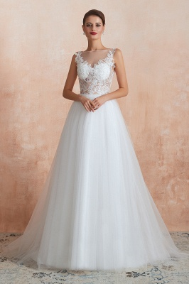 Sheer Top Bateau Sleeveless Floor Length A-line Tulle Wedding Dresses