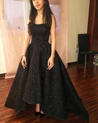 Black High-Low Prom Dresses | Sparkly Puffy Sleeveless Evening Gowns_3