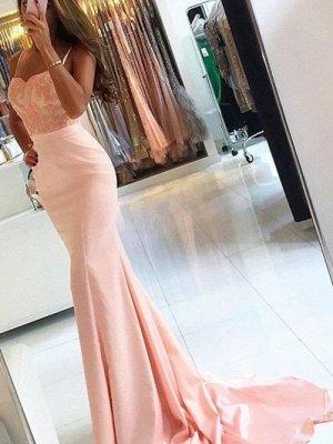 Sleeveless Spaghetti-Strap Lace-Appliques Mermaid Newest Prom Dress_3