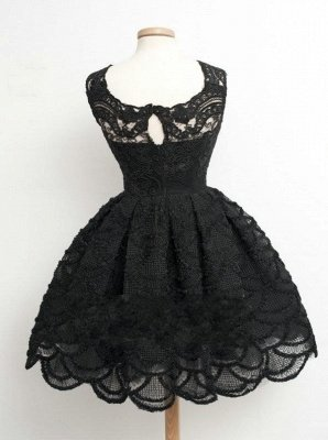 Lace Black Knee-Length Short Homecoming Dress   Stunning Short Prom Dresses_4