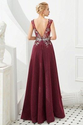 Straps Deep V-neck Beaded Sexy Long Prom Dresses | Elegant Floor Length Evening Dresses_5