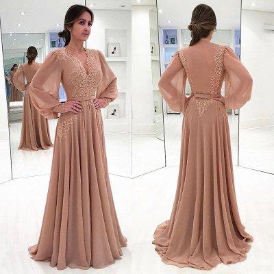 Lace Long-Sleeves V-neck Bow  Elegant Evening Dress_2