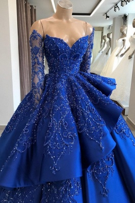 Gorgeous Royal Blue Lace Ruffled Prom Dress | Strapless Sweetheart Beads Quinceanera Dresses_2