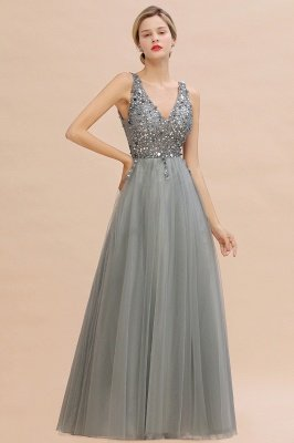 Sleeveless A-line Sequin Tulle Prom Dresses | Cheap Evening Dress_11