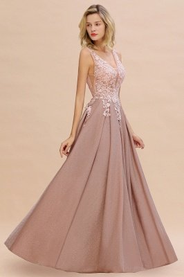 Elegant Sleeveless V-neck Floor Length Appliques Prom Dresses | Cheap Backless Evening Dresses_7
