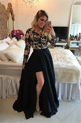 Appliques Detachable Skirt Sheath Black Short Homecoming Dresses with Long Sleeves