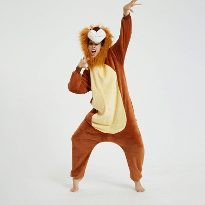 Cute Animal Pyjamas for Women Lion Onesies, Brown_14