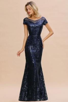 Bateau Short Sleeves Long Sequins Prom Dresses   Floor Length Fitted Evening Dresses_2