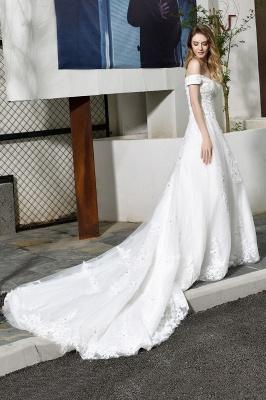 Gorgeous A-Line Lace Off Shoulder Floow Length Wedding Dresses_8